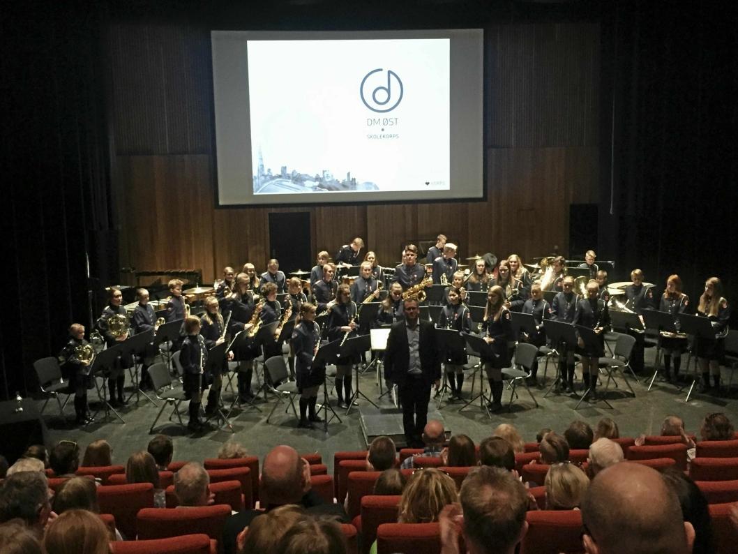 KONSERT: Sofiemyr skolekorps under distriktsmesterskap i skolekorps i Lørenskog 15. april.