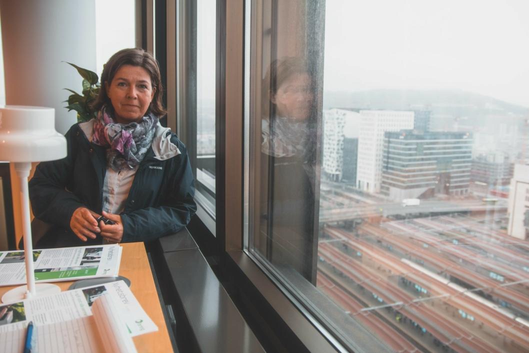 UTSIKT: Fra Ann Kristin Bråthens kontor i 15. etasje i Posthuset har hun god utsikt ned til sporene i Oslo S.