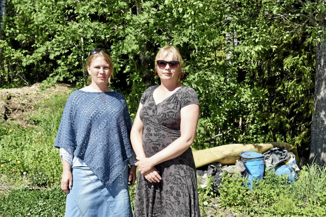 ET PROBLEM: Landskapsarkitekt Anne Hindklev Hamouni og Heidi Tomten i UTE, sier folk forsøpler rundt om kring i hele kommunen.