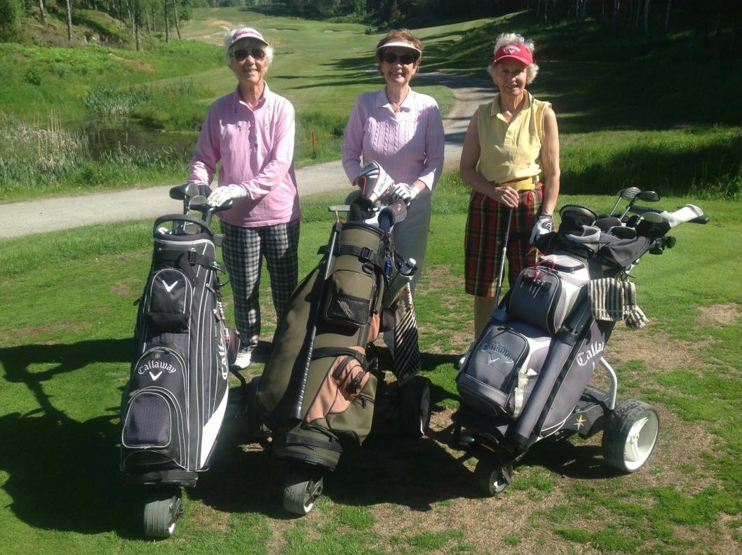 HABILE GOLFERE: Fra venstre står Gulla Haugmo (85), Maureen Hoftun (87), og Tove Wikerholmen (80). Bodil Nilsen (85) hadde spillefri denne dagen.