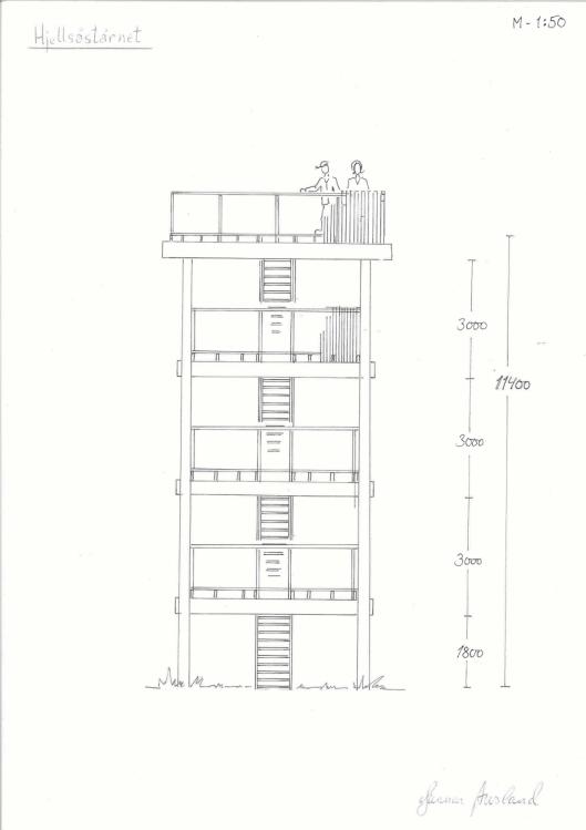 SLIK BLIR TÅRNET: Dette er en eksakt tegning av hvordan det nye utkikkstårnet på Grønnliåsen blir seendes ut.