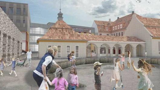 DEN NYE SKOLEN: Slik skal skolegarden ved den nye skolen se ut i 2020.
