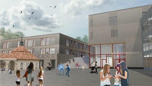 I 2020: Her kan du se biblioteket ved den nye skolen.