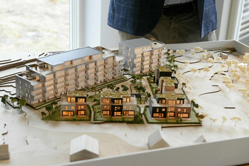 STOREBUKTA I NY DRAKT: Det skal bygges 80 boenheter fordelt på to lamellbygg på fire til seks etasjer samt 13 townhouse på tre etasjer.