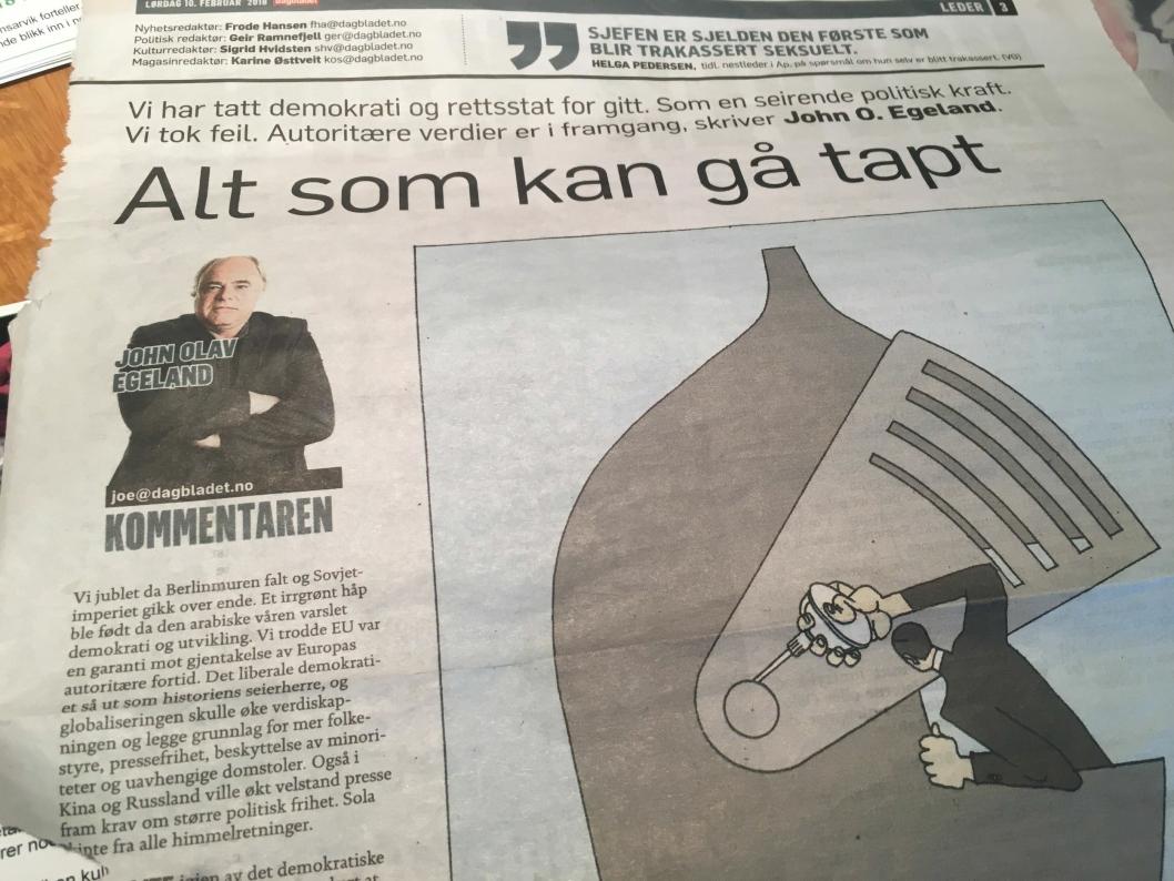 JOHN OLAV EGELAND: Er journalist og redaktør, og har vært i Dagbladet siden 1978. Han er en av de mange spennende foreleserne som kommer til Kolben i høst.