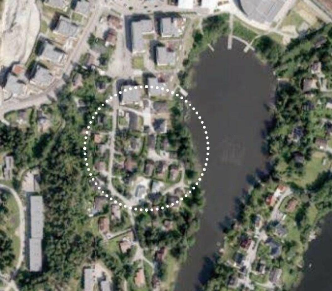 FELT B3: Her kan du se det aktuelle området som skal utvikles i to faser. Området langs Kolbotnvannet blir utviklet i fase to.