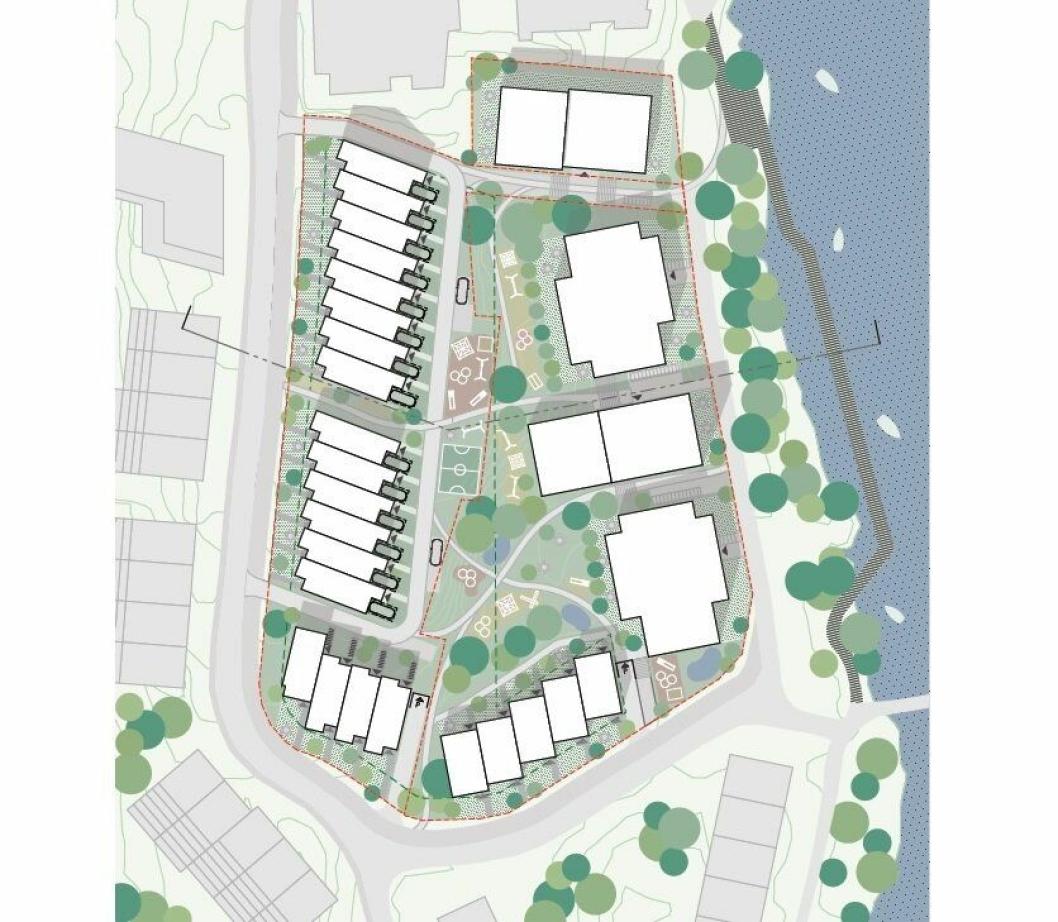 TO FASER: Slik skulle B3 se ut med to utbyggingsfaser, men kun fase én (med de to rekkehusene langs Kantorveien som du ser til venstre på skissen) vil bli realisert.