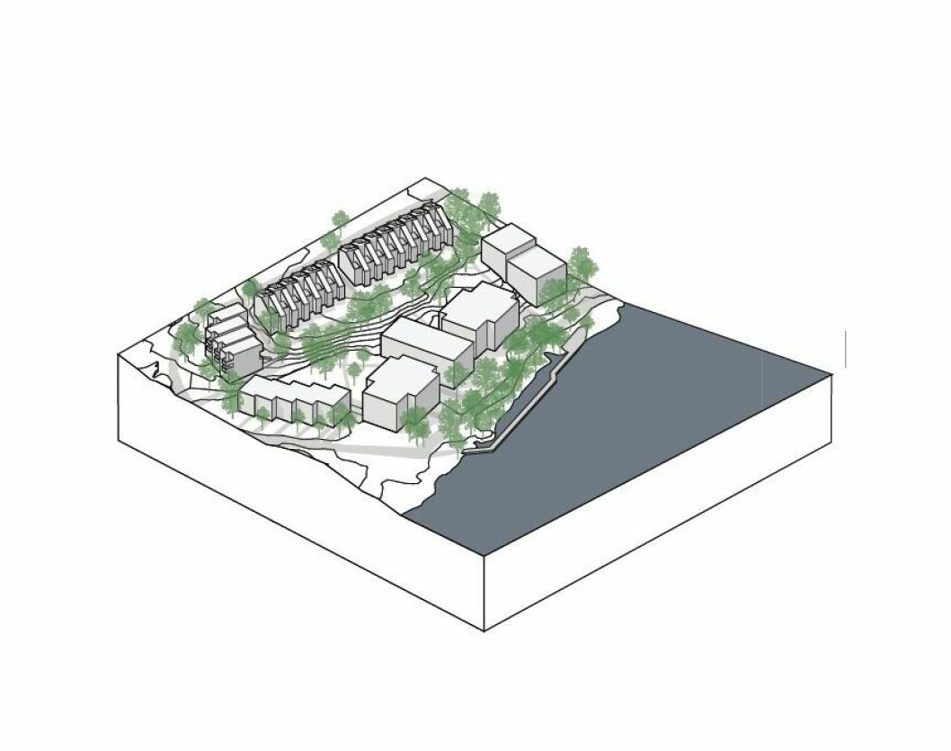 DROPPER HALVPARTEN: De resterende rekkehus samt «byhusene» langs Kolbotnvannet må stå på vent.