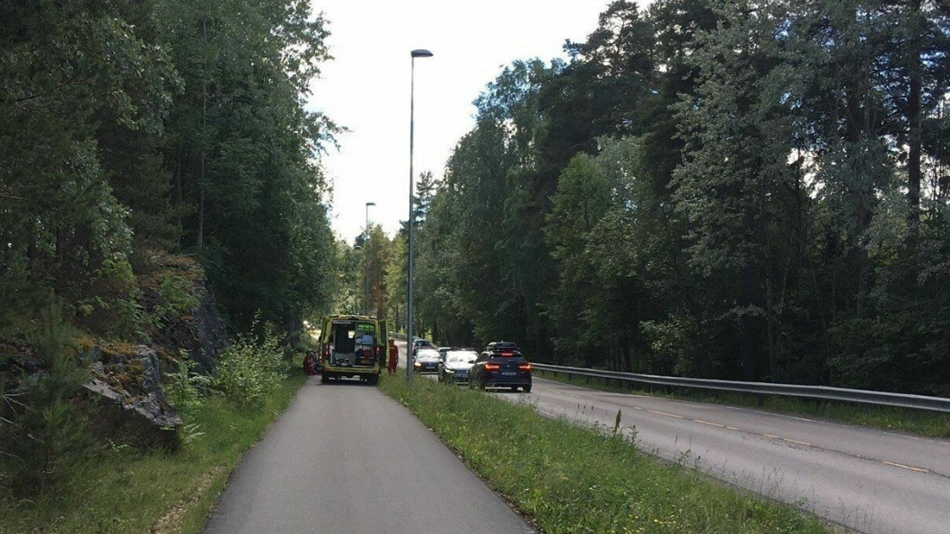 ULYKKE: En leser var ute og gikk tur og kom over ulykken.