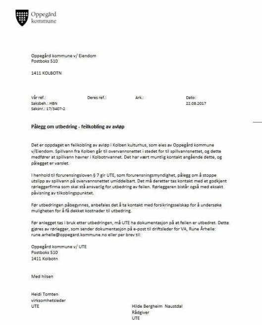 DOKUMENT 1: Pålegg om å utbedre feilkobling avløp, datert 22.08.2017.