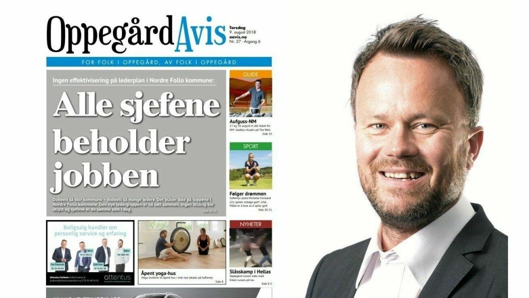SVARER PÅ KRITIKK: Sjefredaktør Thomas N. Witsø-Bjølmer får assosiasjoner til Donald Trump når han leser Knut Oppegaards innlegg i avisen. Til venstre, en av forsidene Oppegaard har reagert på.