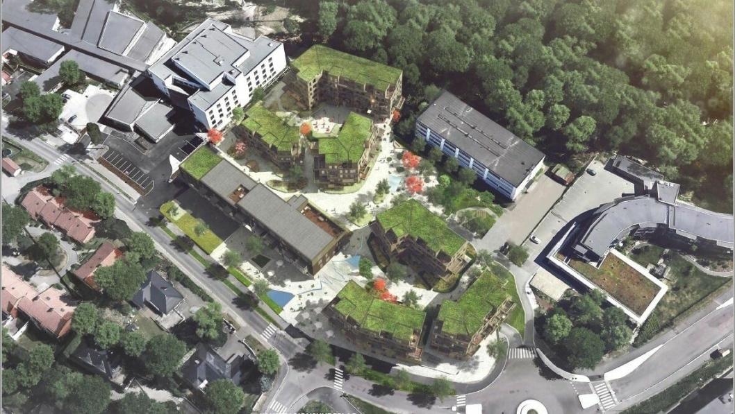 TUNSTRUKTUR: Slik kan Tårnåsen senter se ut ved konvertering av dagens struktur til to boligstrukturer med hver sine indre tun.
