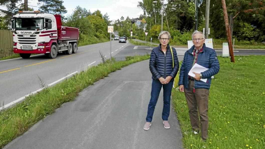 BEHOV FOR MANGE TILTAK: Berit Sunde (75) og Halvor Stormoen (69) og fra Solbråtan krever at SVV og kommunen setter i gang med farts- og støyreduserende tiltak i området langs Skiveien på Solbråtan.
