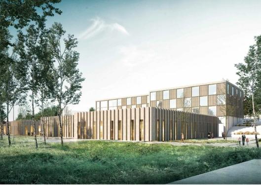 TERRASSEN: Slik skal skolen og hallen bygges inn i terrenget.