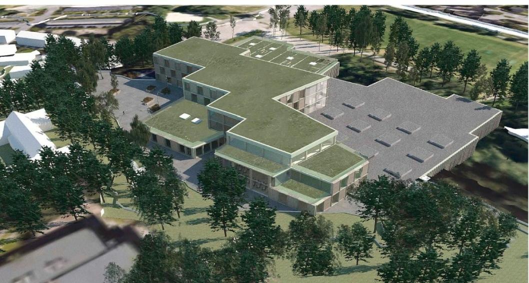 HALL OG SKOLE: Idrettshall og skole skal integreres i det nye bygget på Sofiemyr. (Illustrasjon: Oppegård kommune)