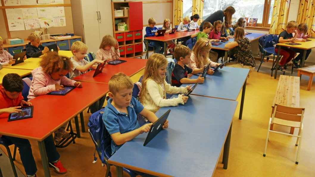 STORE GRUPPER: Statistikken viser at Oppegård kommune i skoleåret 2017-2018 hadde i gjennomsnitt 16,1 elever per lærer på 1.-7. trinn. Dette er 3,1 flere elever per lærer enn snittet i landet og 2,3 flere elever enn snittet i kommunegruppe 13.