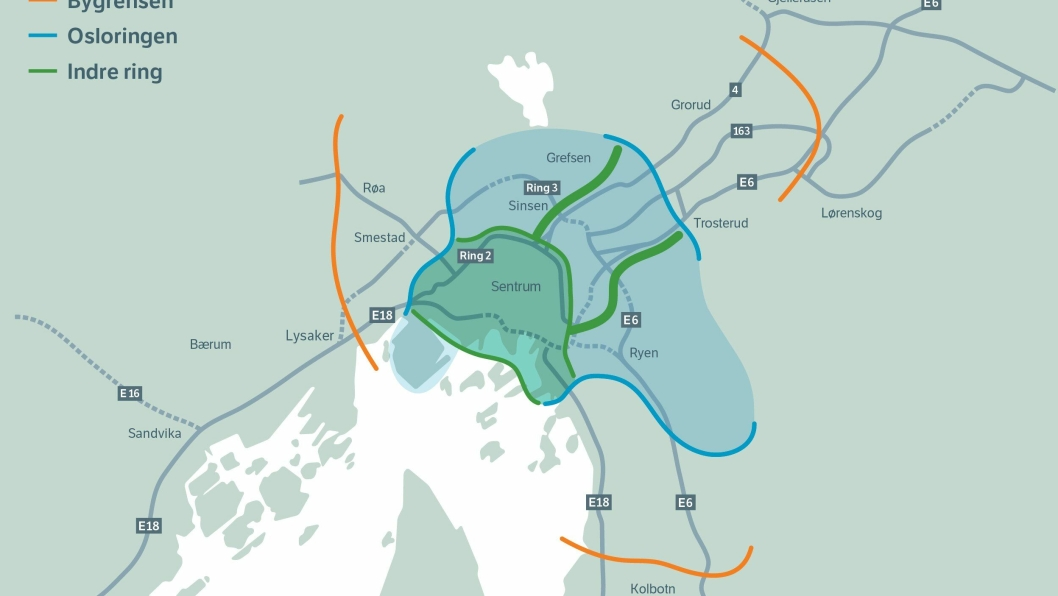 KARTET OVER BOMRINGENE: Fra 1. juni 2019 blir bompengeinnkrevingen i Oslo fordelt på tre bomringer: 1. Indre ring (grønn linje på kartet), 2. Osloringen (blå linje på kartet) og 3. Bygrensen mellom Oslo og Follo (oransje linje på kartet).