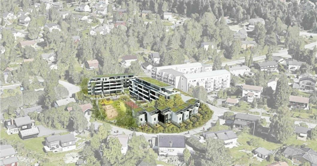 SISTE FORSLAG: Planinitiativet fra februar 2018 handler om 9 rekkehus og 61 nye boenheter fordelt på to boligblokker på fem etasjer, med inntrukne toppetasjer.