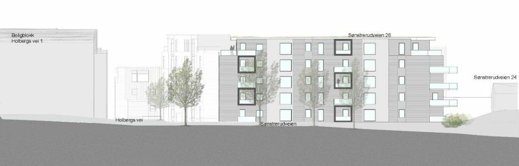 FRA SISTE FORSLAG: Illustrasjon av fasade sett fra Sønsterudveien.