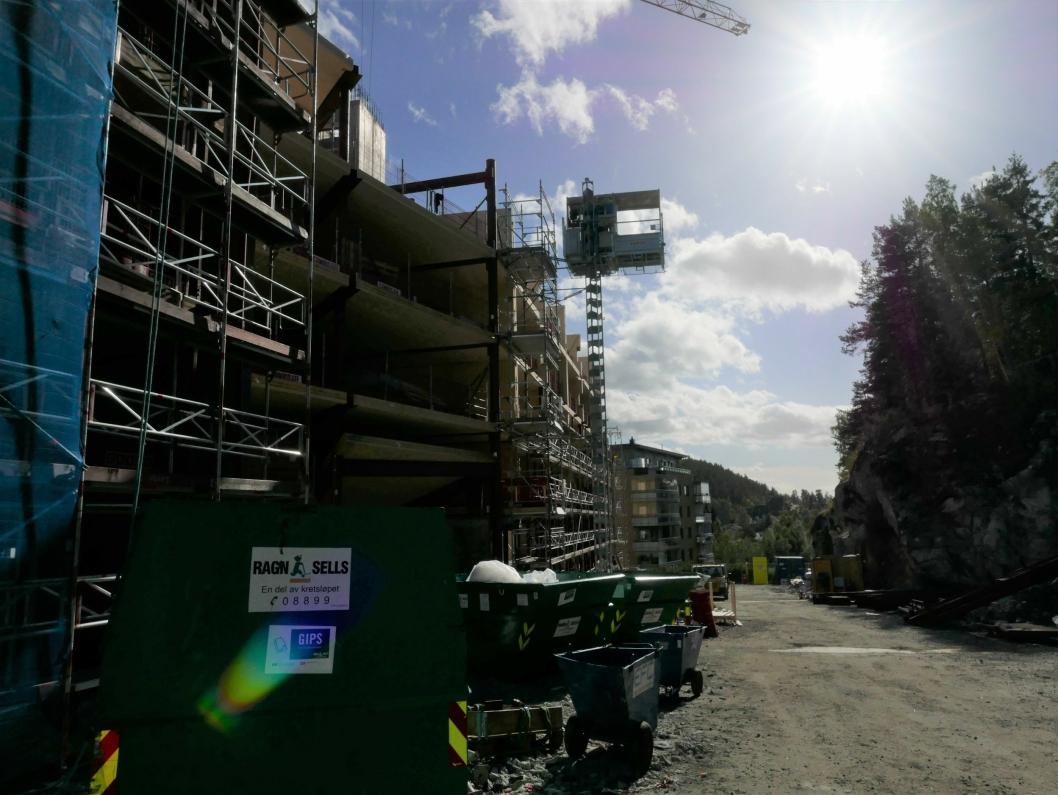 SØNDRE BYGG: I disse dagene jobbes det med den femte etasjen på den søndre delen av bygget.