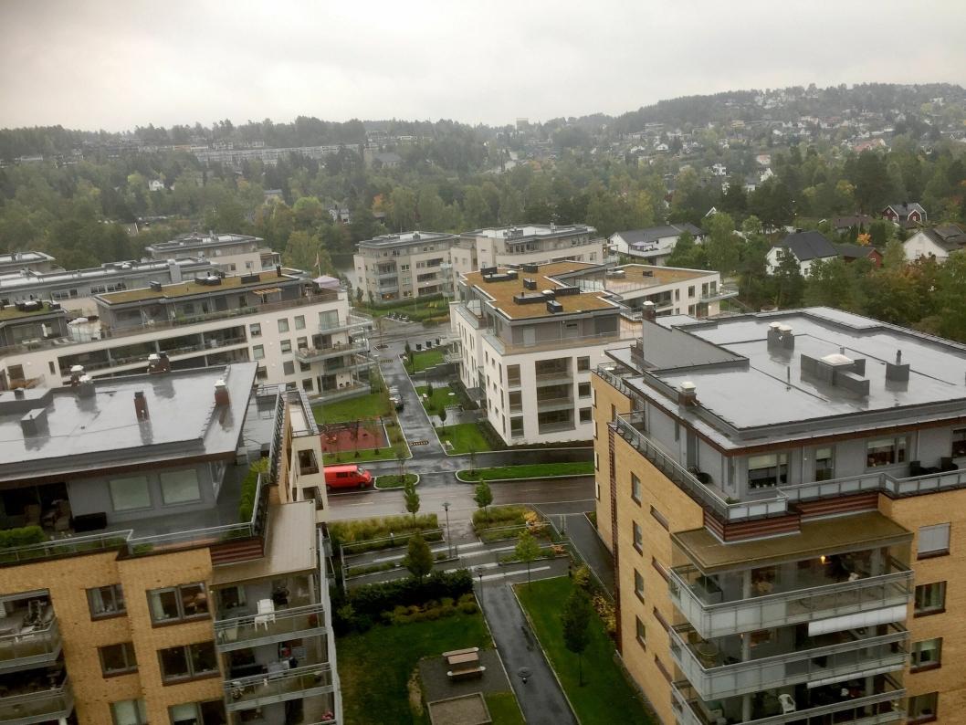 NABOER: Her kan du se boligblokkene som grenser til planområdet. Bildet er tatt 40 meter over bakken.