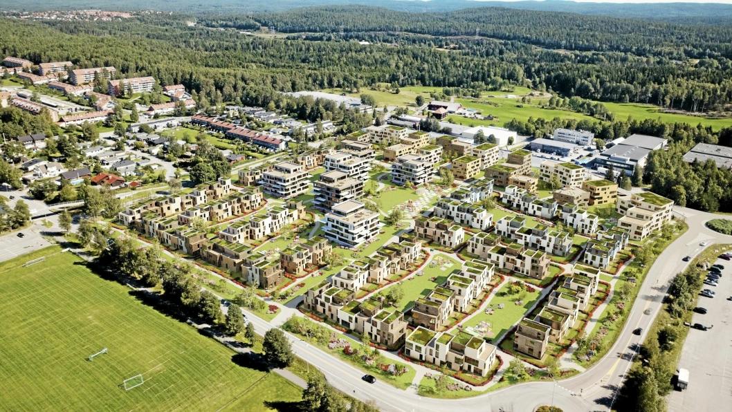 FRA NÆRING TIL MANGE BOLIGER: Slik kan eiendommene i Kongeveien 47 og Fløisbonnveien 2 og 4 bli transformert fra næring til boliger. Illustrasjonen viser en blanding av rekkehus, punkthus og mindre leiligheter.