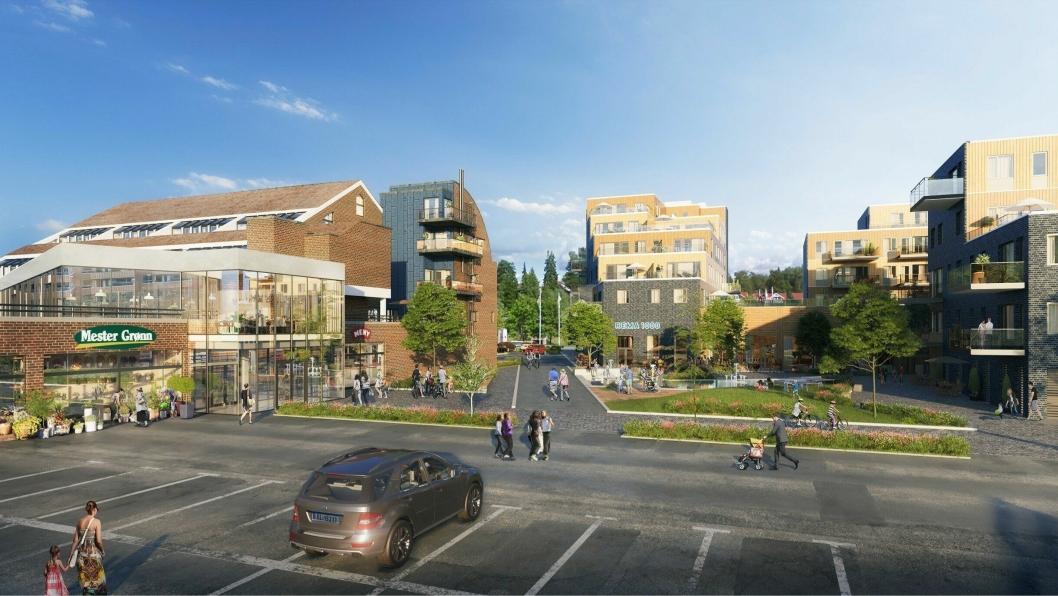 MOT TORGET: Den nye hovedinngangen til Meny blir vendt inn mot torget, og plasseres der vareleveringen er i dag.