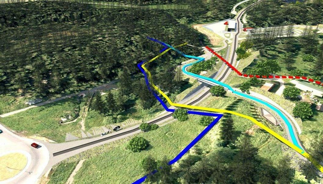 SJEKK KARTET: Rød linje: Gammel turtrasé fra Fløisbonnveien. Gul linje: Midlertidig omlagt turtrasé. Mørkeblå linje: Midlertidig omlagt skitrasé. Lyseblå linje: Fremtidig turvei- og skiløypetrasé.