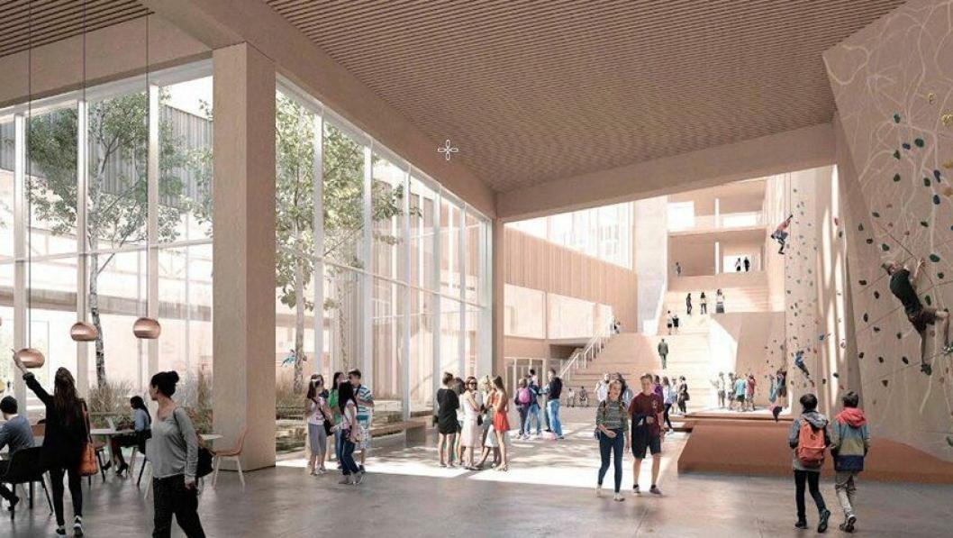 UNGDOMSSKOLE OG IDRETTSHALL I ETT: Illustrasjonen viser vestibyle i adkomstområdet. Idrettshallen er lagt på nedre nivå og skal utgjøre to fulle etasjer, mens skolens trinnområder ligger på Sofiemyrplatået med tre fulle etasjer. Den nye ungdomsskolen vil bli en 7-parallell skole, med plass til 630 elever fra dagens Fløysbonn og Hellerasten ungdomsskoler.
