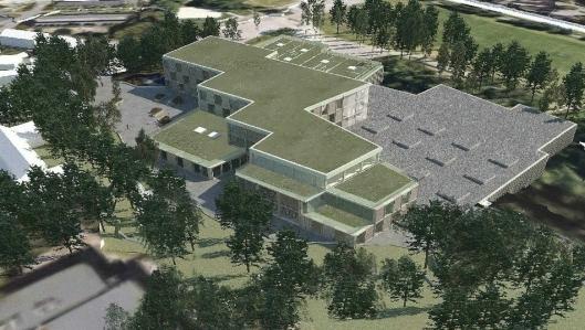 INNFLYTTINGSKLAR OM TRE ÅR: Fugleperspektiv viser skole- og idrettshallbygget sett fra sørvest. Prosjektet er planlagt ferdigstilt i løpet av siste halvdel av 2021, med innflytting i 2022.