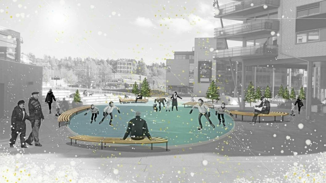 VINTER-IDYLL: Slik presenteres planene for Vinterland på Kolbotn torg. Skøytebanen vil bli på minst 200 kvadratmeter.