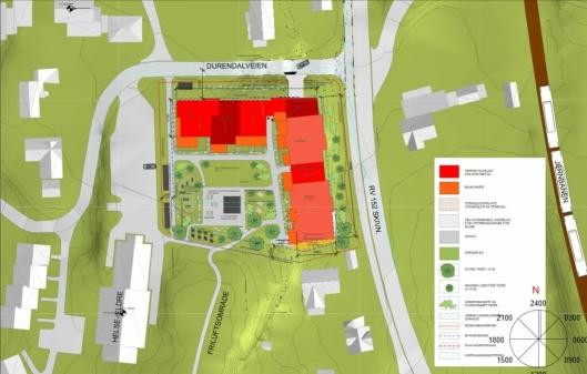 NYE SENIORBOLIGER SOM NABO: Oppegård kommunestyre vedtok 19. mars 2018 regulering for Durendalveien 1. Her skal det bygges inntil 44 seniorleiligheter.