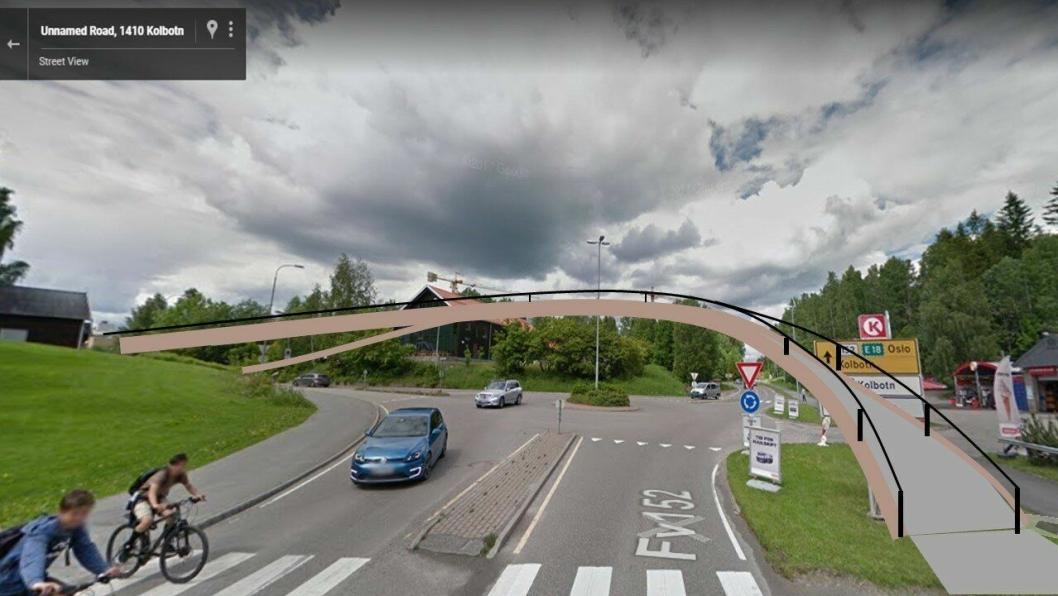 DETTE ER FORSLAGET: Hans Martin Enger foreslår å bygge en gangbro rett over krysset i Skiveien/Kolbotnveien.