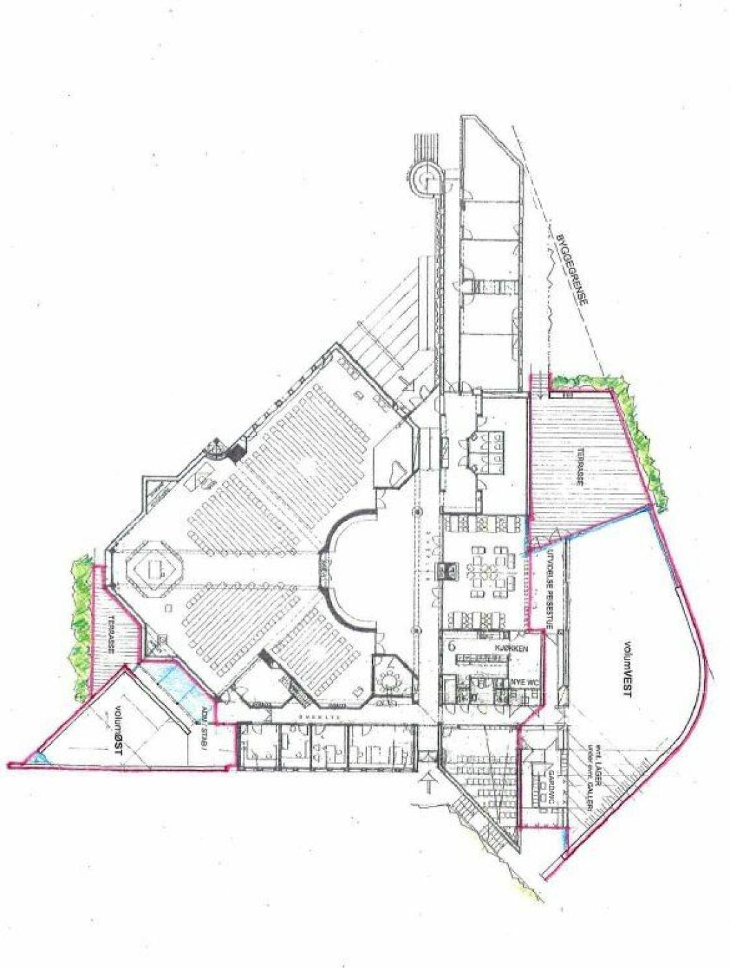 FØRSTE ETASJE: Her kan du se den planlagte utvidelsen av kirken med Volum Vest og Volum Øst.