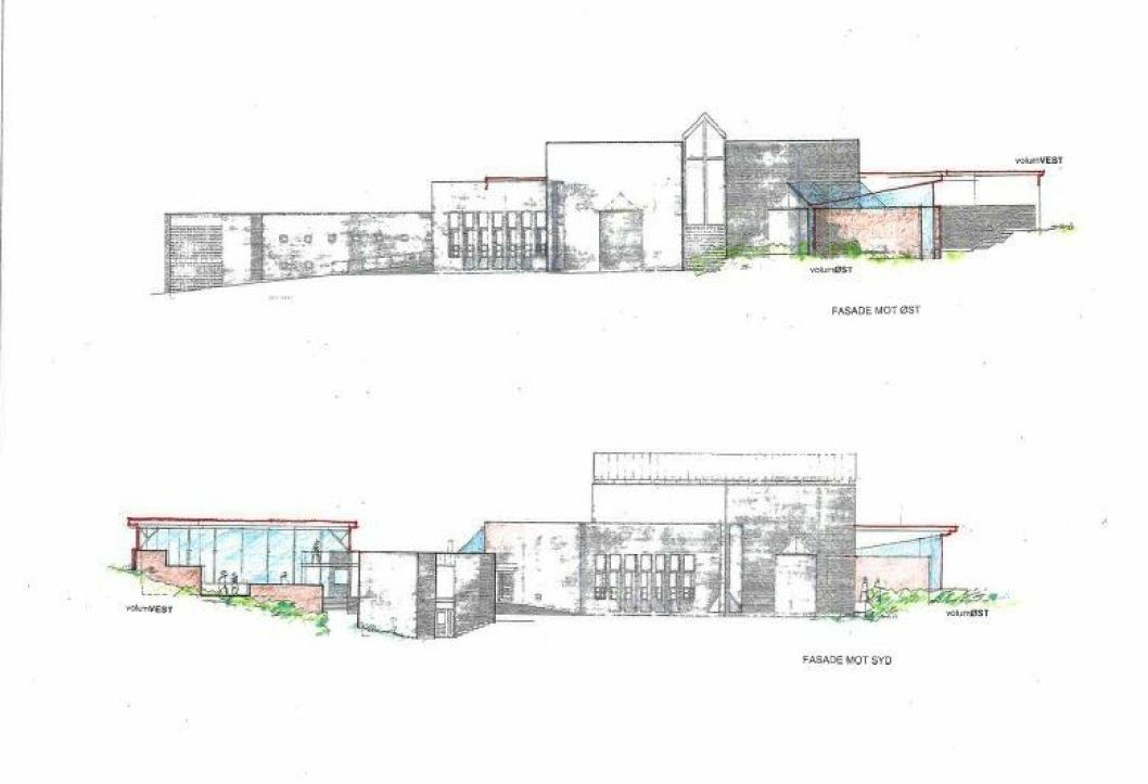 FASADER: Her kan du se den planlagte utvidelsen av kirken med Volum Vest og Volum Øst.