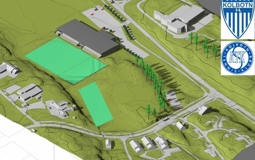 PLASSERING: Tennishallen (grått bygg på illustrasjonen) skal bygges øst for den eksisterende kunstgressbanen. Sør for den kan du også se den nye kunstgressbanen som skal bygges på Tømtebanen.