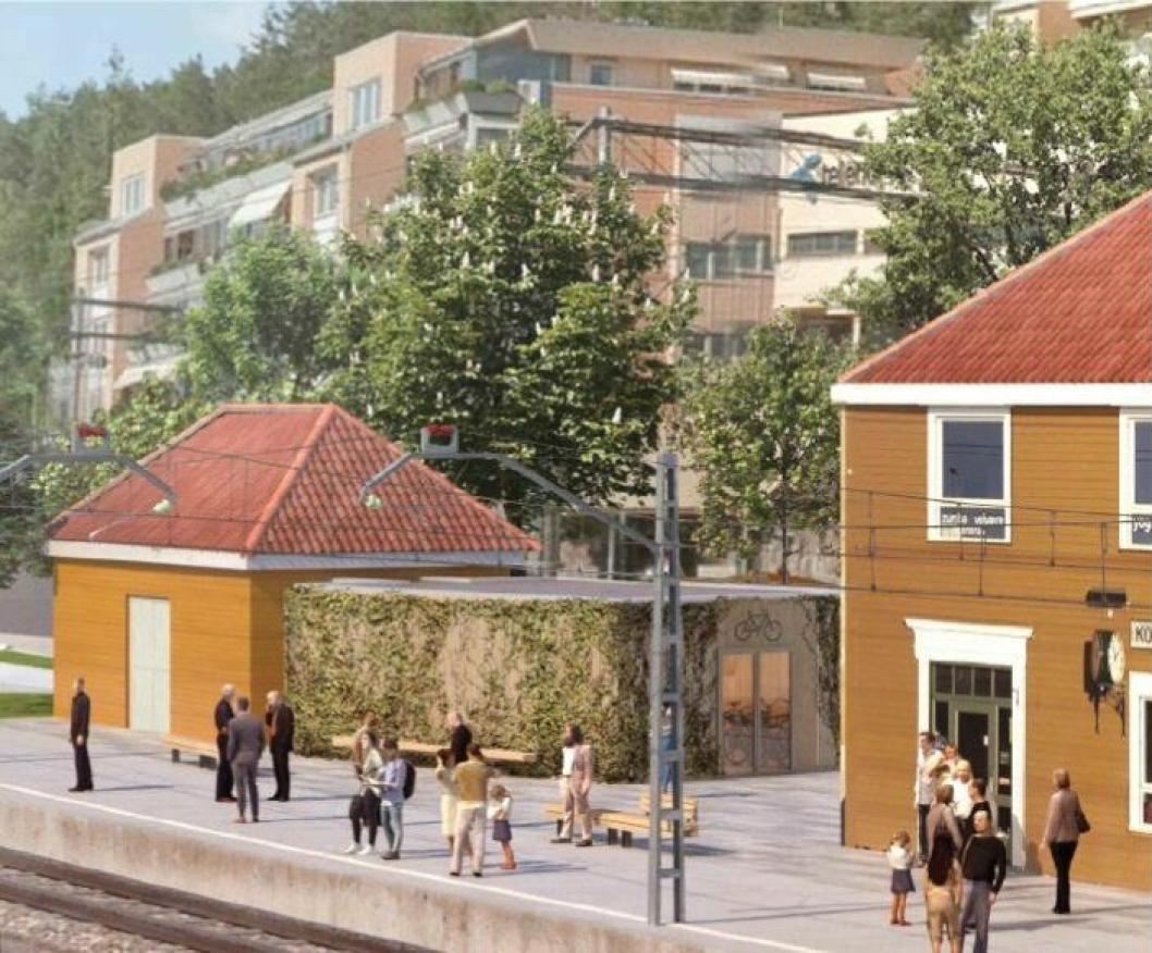 """RÅDMANNENS ANBEFALING: """"Alternativ 2 med tilbakeføring til det opprinnelige pakkhuset i kombinasjon med et moderne tilbygg gir den beste løsningen både for funksjonen sykkelhotell, logistikken knyttet til Kolbotn stasjon og ivaretakelse av det historiske stasjonsmiljøet."""""""