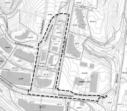 PLANOMRÅDET: Planområdet er på ca. 11,2 dekar og omfatter adressene Kolbotnveien 6, Skolebakken 2 og Ormerudveien 1A,1 B OG 3A med tilliggende veiareal.