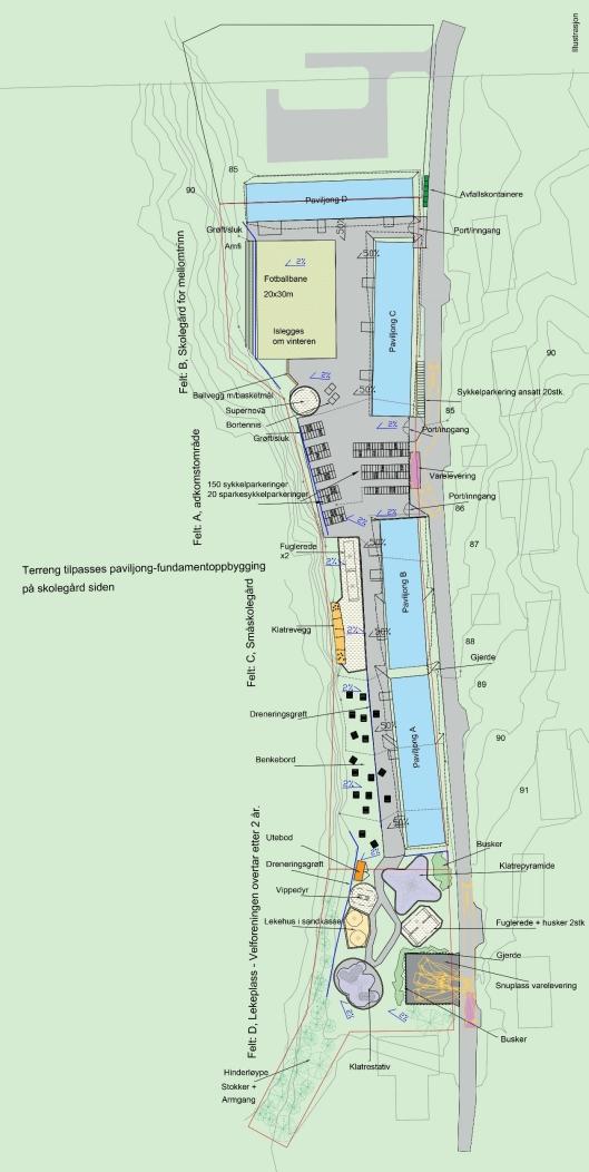 DETTE ER PLANEN: Illustrasjonen viser plasseringen av byggene i Solkollen.