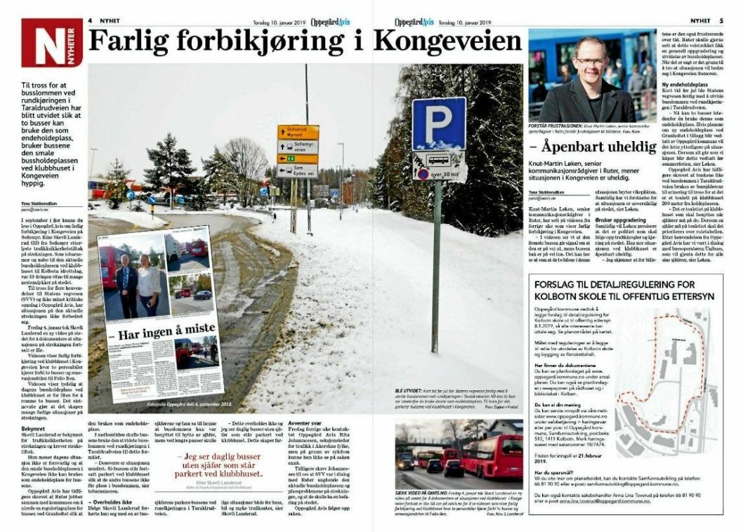 OPPEGÅRD AVIS, 10. JANUAR: Forrige uke kunne du lese i Oppegård Avis om farlig forbikjøring i Kongeveien på Sofiemyr.