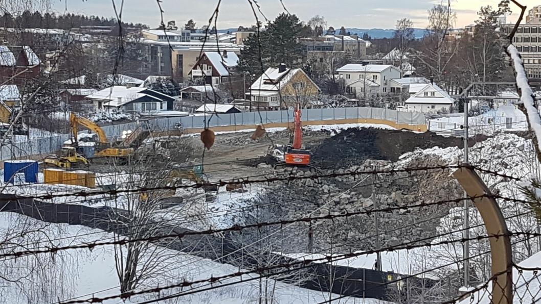 STOREBUKTA-PROSJEKTET: Her har utbyggeren pumpet ut anleggsvann ut u våtmarksområdet i to uker uten å søke Fylkesmannen om utslippstillatelse.