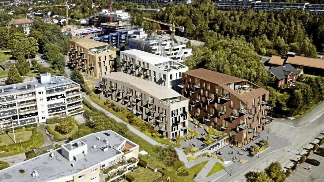 MYE MOTBØR: Planforslaget for utbyggingen av Skolebakken på Kolbotn har skapt mye debatt den siste tiden. Slik kan området bli seende ut om planene iverksettes.