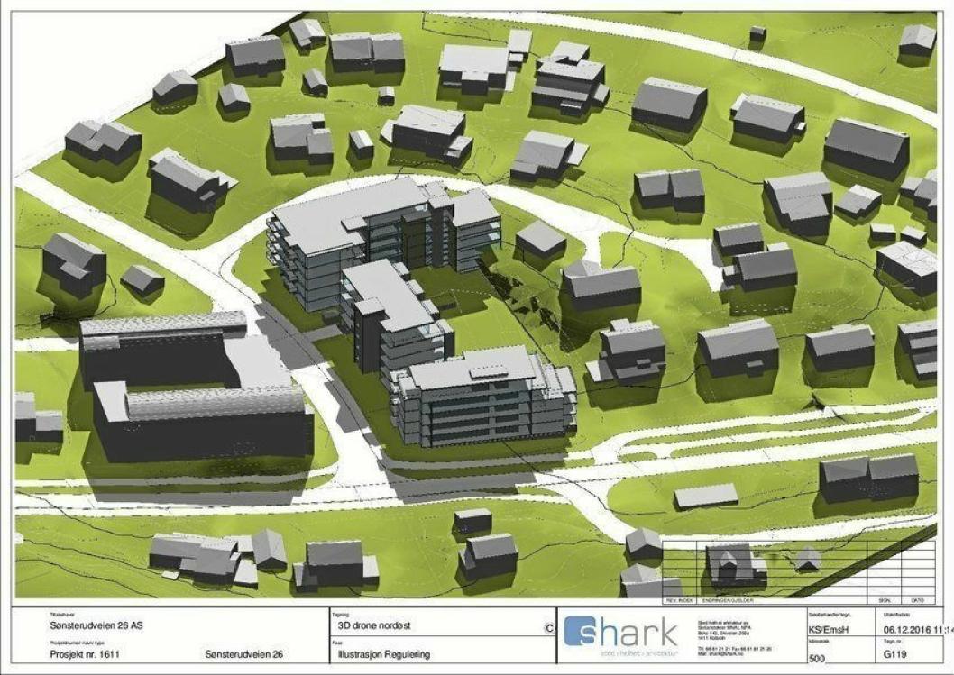 FØRSTE FORSLAG: Det første planforslaget fra desember 2016 handlet om 75 leligheter fordelt tre boligblokker på fem etasjer.