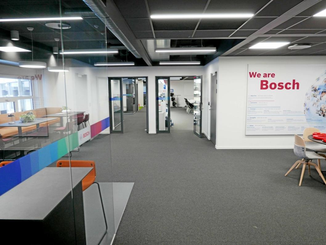 720 KVADRATMETER: Slik ser lokalene til Robert Bosch AS ut på RC. Her har de kontorer til administrasjon og selgere, og et showrom. Foto: Yana Stubberudlien