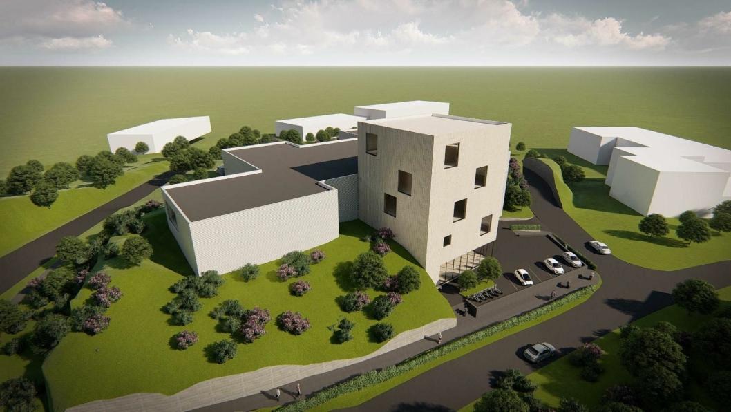 SLIK KAN DET SE UT: Det foreslås å bygge et punktbygg i fem etasjer og et hovedbygg rundt det i tre etasjer. Nord for brannstasjonen skal det bygges egen adkomstvei til Sofiemyrveien 10-16.