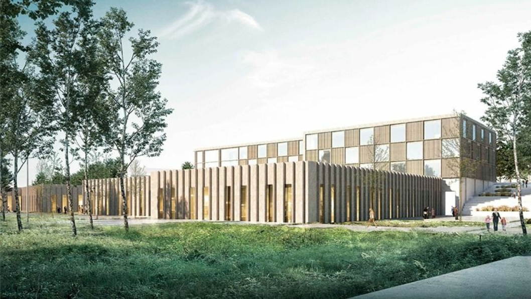 SKULLE ÅPNES I 2022: Elever som sogner til Hellerasten og Fløysbonn ungdomsskoler skulle gå ved den nye ungdomsskolen i Sofiemyr idrettspark i 2022.