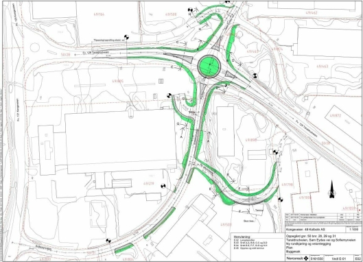 NY KRYSSLØSNING: Den nye rundkjøringen skal erstatte dagens T-kryss i Taraldrudveien, Sam Eydes vei og Sofiemyrveien. Nord for brannstasjonen skal det også etableres en ny kommunal adkomstvei til Sofiemyrveien 10-16.