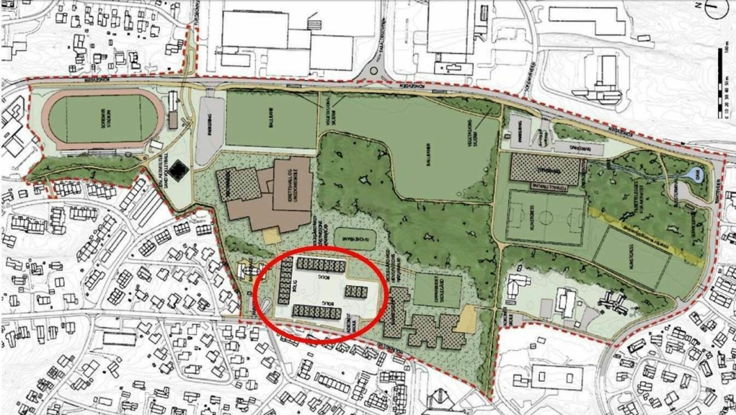 FRA BARNESKOLEN TIL BOLIGER: Det skal bygges 100 boliger (rekkehus og lavblokker) mellom den nye barneskolen, som skal bygges på tomten til dagens Fløysbonn skole, og Holberg barnehage.