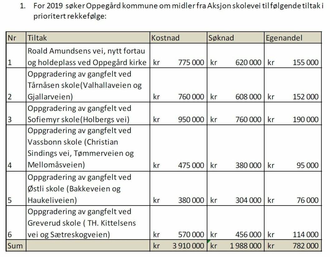 KOMMUNENS SØKNAD: Kommunen har søkt om tilskudd til seks prosjekter i 2019. Kun to av disse fikk midler fra fylket.