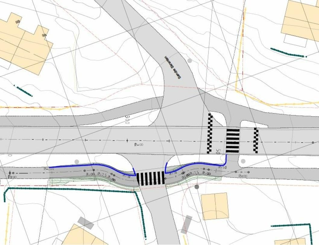OPPHØYDE GANGFELT: Fotgjengerfeltet skal flyttes lenger inn i Wessels vei og det skal bygges et opphøyd gangfelt mot Søndre Skrenten.